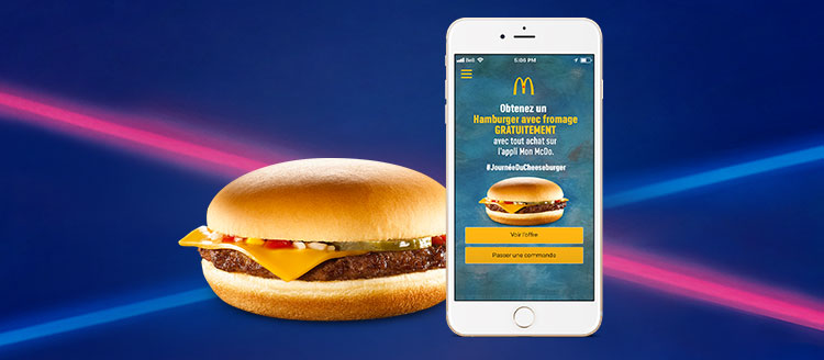 Cheeseburger with MyMcD's app