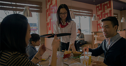 McDonald's staff serving guests