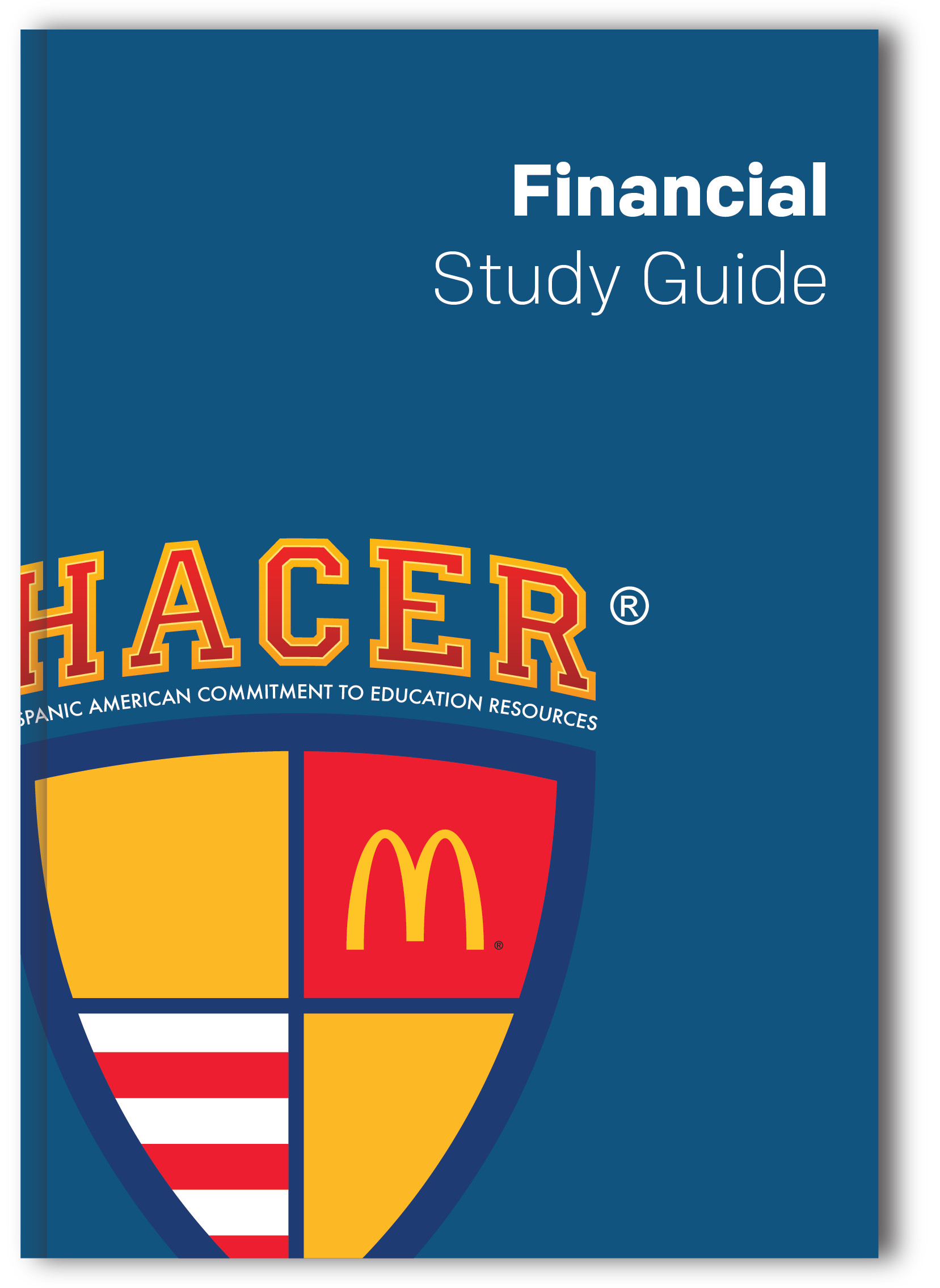 "Image of a blue booklet with the title of ""Financial Study Guide"" with the HACER® logo."