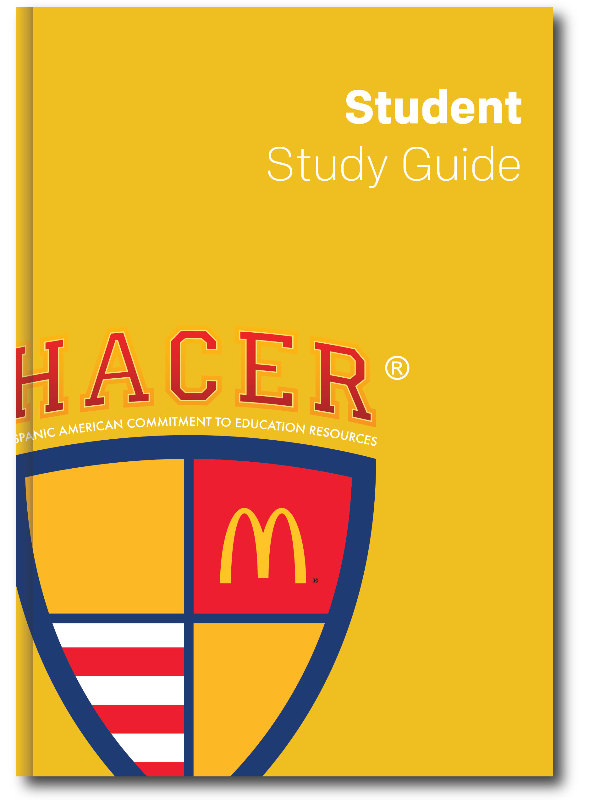 "Image of a yellow booklet with the title of ""Student Study Guide"" with the HACER® logo."