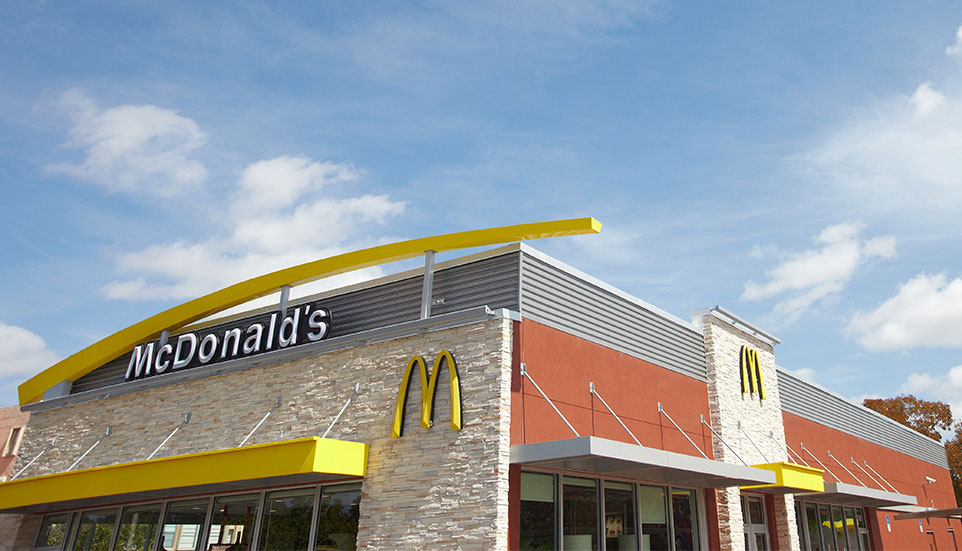 An outdoor photo of a McDonald's Restaurant