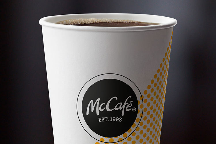 close up picture of a McCafe coffee beverage.