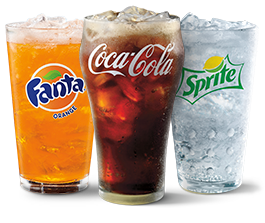 Coke®, Fanta®, and Sprite® in glass cups