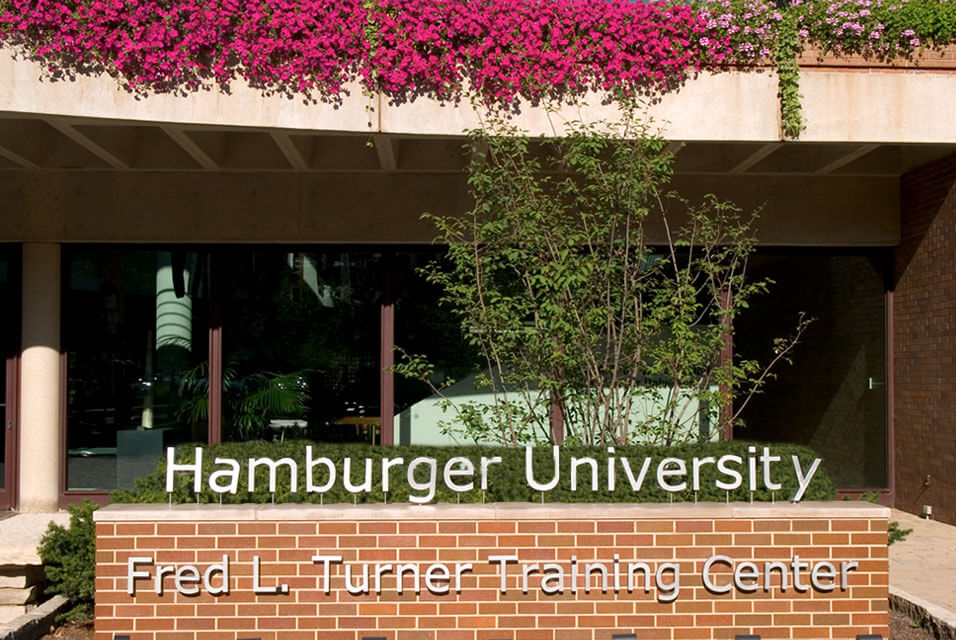 "Sign reading ""Hamburger University Fred L. Turner Training Center"""