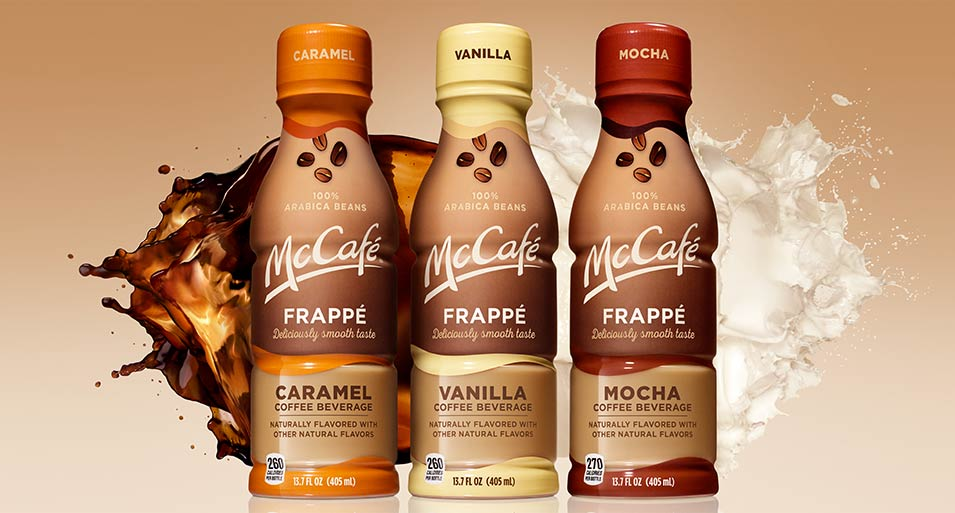 Bottles of McCafé® Caramel, Vanilla, and Mocha Frappé