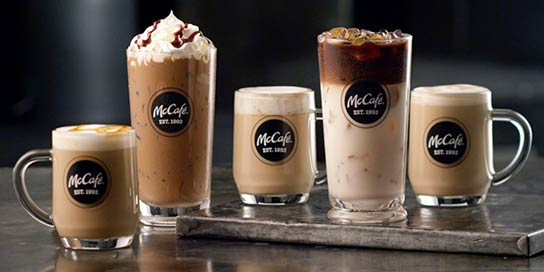 McCafé drinks in glassware