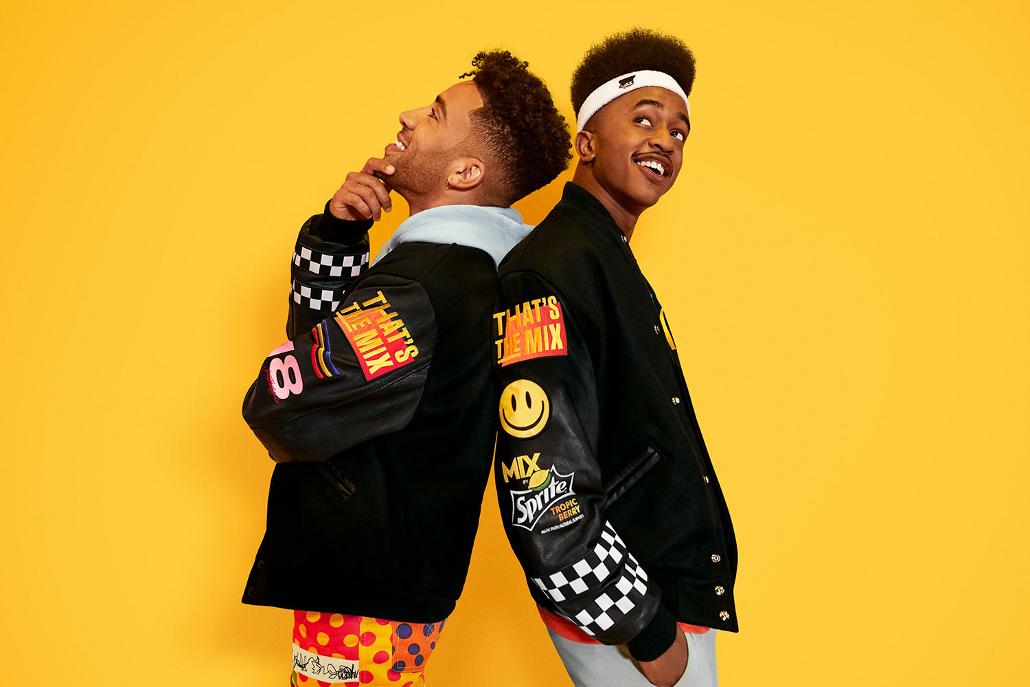 KYLE and Brick wearing That's the MIX letterman jackets