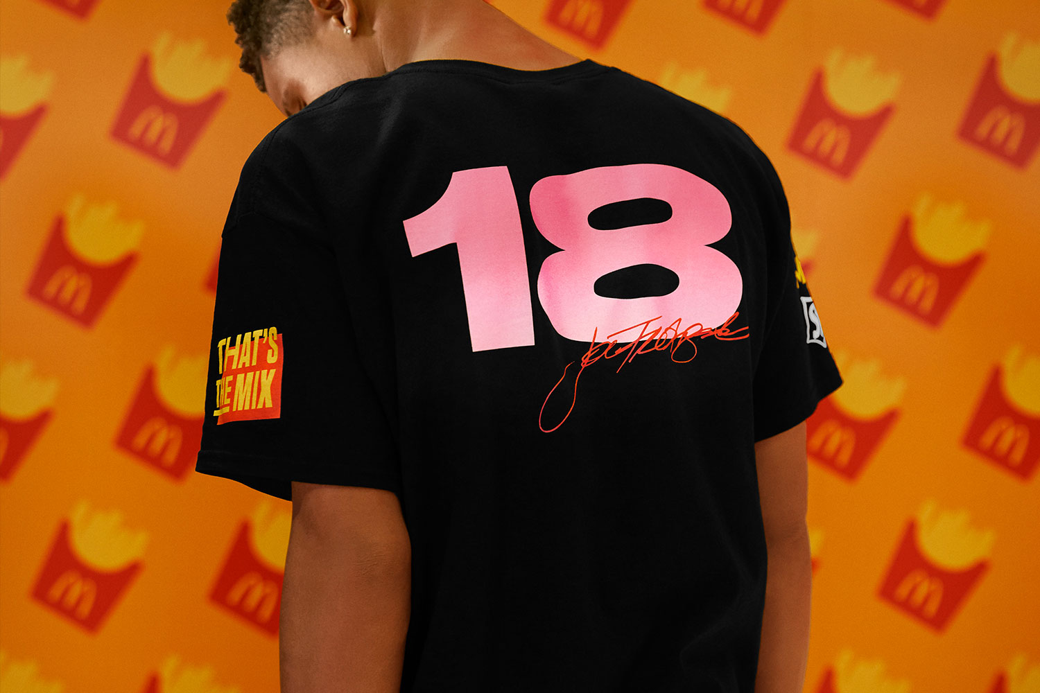 back of a That's the MIX t-shirt with Joe Freshgoods logo with number 18