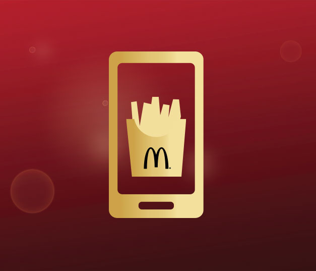 Illustration of a smartphone with an image of a box of fries