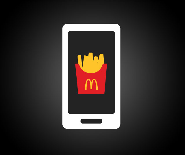 Cartoon of a smartphone with an image of McDonald's fries