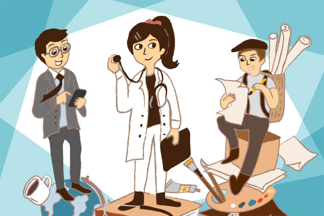 Illustration of 3 professionals; a businessman, a female doctor and an artist with items relation to their profession in their hands and under their feet
