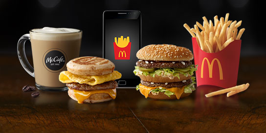 A few McDonald's products and a mobile phone