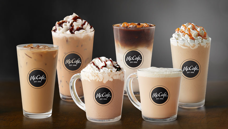 Hot and cold McCafé® drinks in glassware