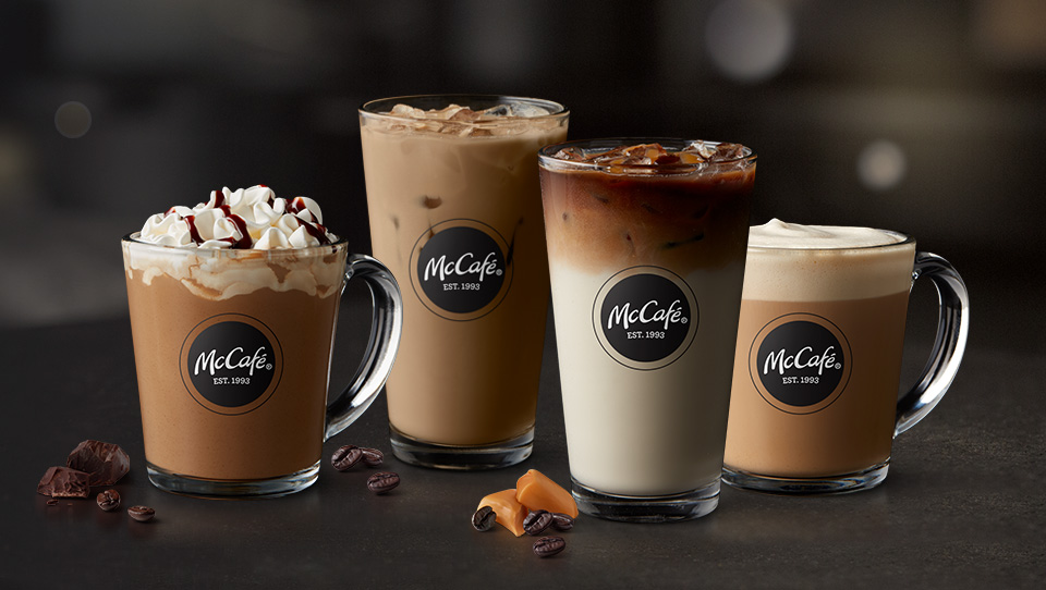 Four McCafé® drinks in glassware