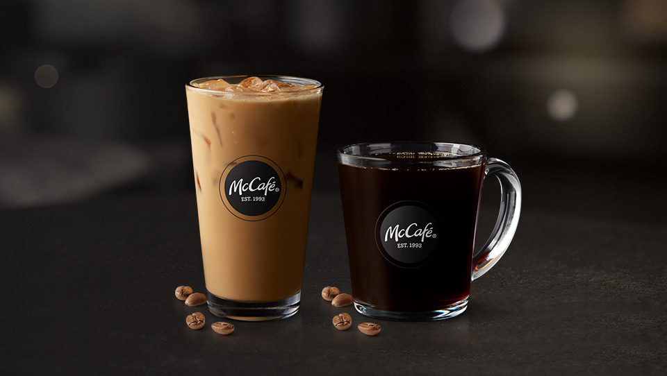 McCafé® Iced Coffee and hot Coffee in glassware