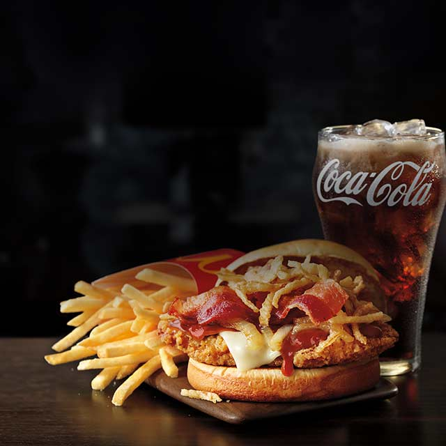 For a limited time, get free medium fries and soft drink with purchase of any signature crafted recipe