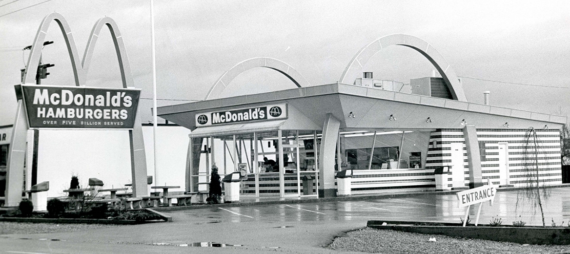 The first McDonald's storefront and sign with arches