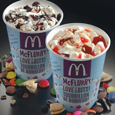 A chocolate and strawberry McFlurry dessert