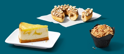 Die McCafé Food Highlights Lemon Cheesecake, Popcorn Donut und Apple Salted Caramel Muffin.
