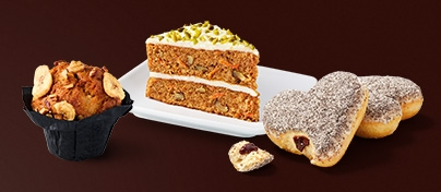 Die McCafé Food-Highlights Banana Bread Muffin, Carrot Cake und Germknödel Donut
