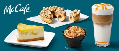 Die aktuellen McCafé Highlights: Lemon Cheesecake, Popcorn Donut, Apple Salted Caramel Muffin und Pumpkin Spice Latte.