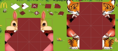 Brown bunny and orange and black striped tiger origami characters