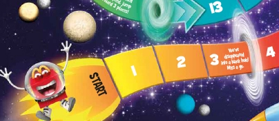 Space game with Happy Meal character running across the board
