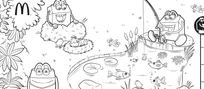Black and white nature scene with three Happy Meal characters near a pond