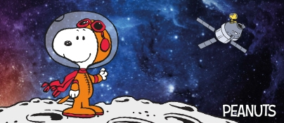 Space scene with astronaut Snoopy standing on the moon with a space rocket