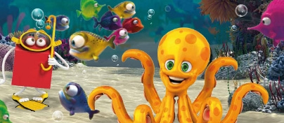 Colourful under the sea scene with red Happy Meal character, fish and a big orange octopus