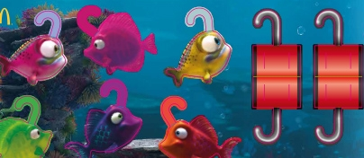 Colourful under the sea scene with five fish with hooks and two red grabbers