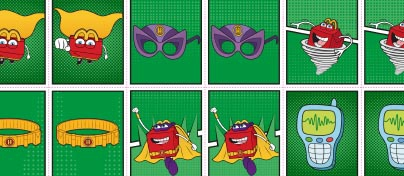 Matching pairs game with super hero Happy Meal characters, face mask, head band and mobile phone