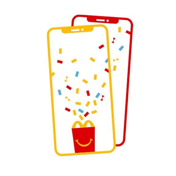Red and yellow mobile phone showing a red Happy Meal box and red, yellow and blue confetti explosion on the screens