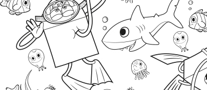 Black and white underwater sea scene showing Happy Meal character with fish, octopus, shark and jelly fish sea creatures