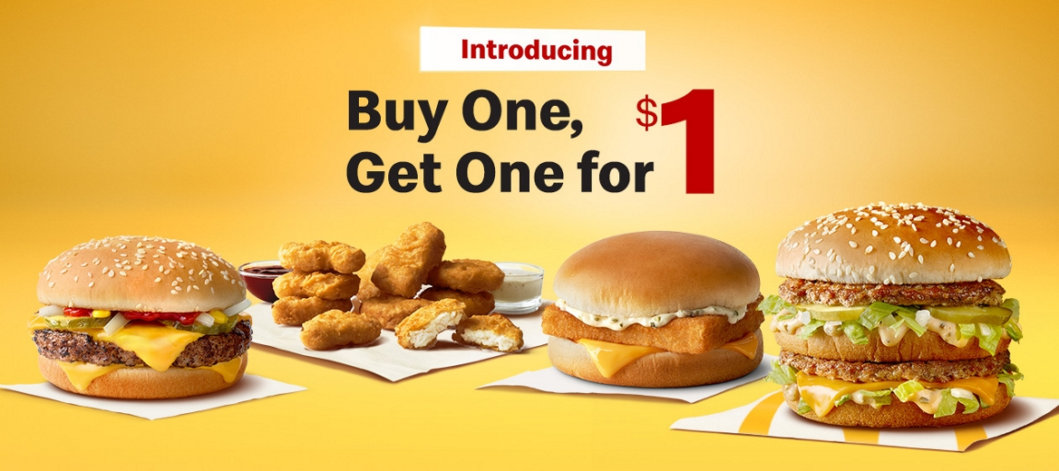 big mac, quarter pounder with cheese, 10 piece chicken mcnuggets and filet-o-fish